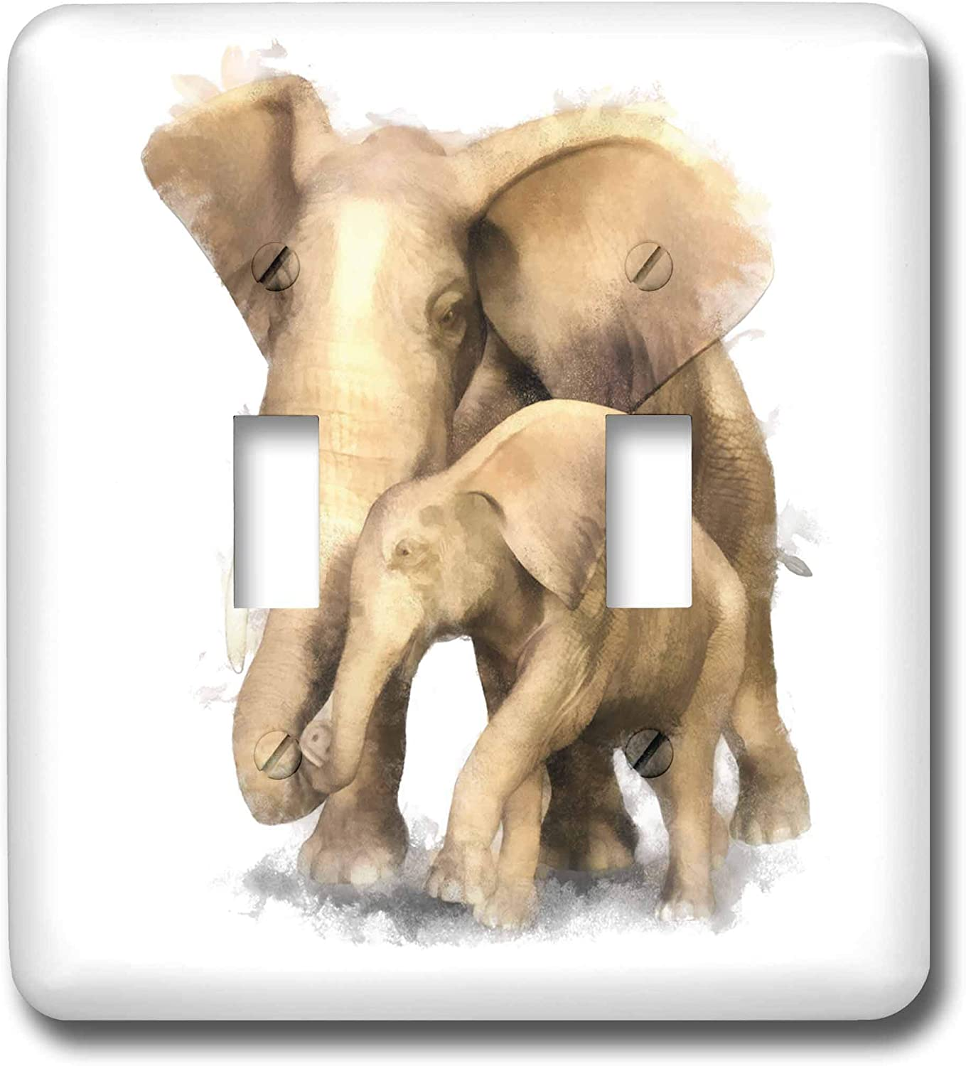3drose Lsp 38670 2 Elephant Mother And Child Double Toggle Switch Switch Plates Amazon Com