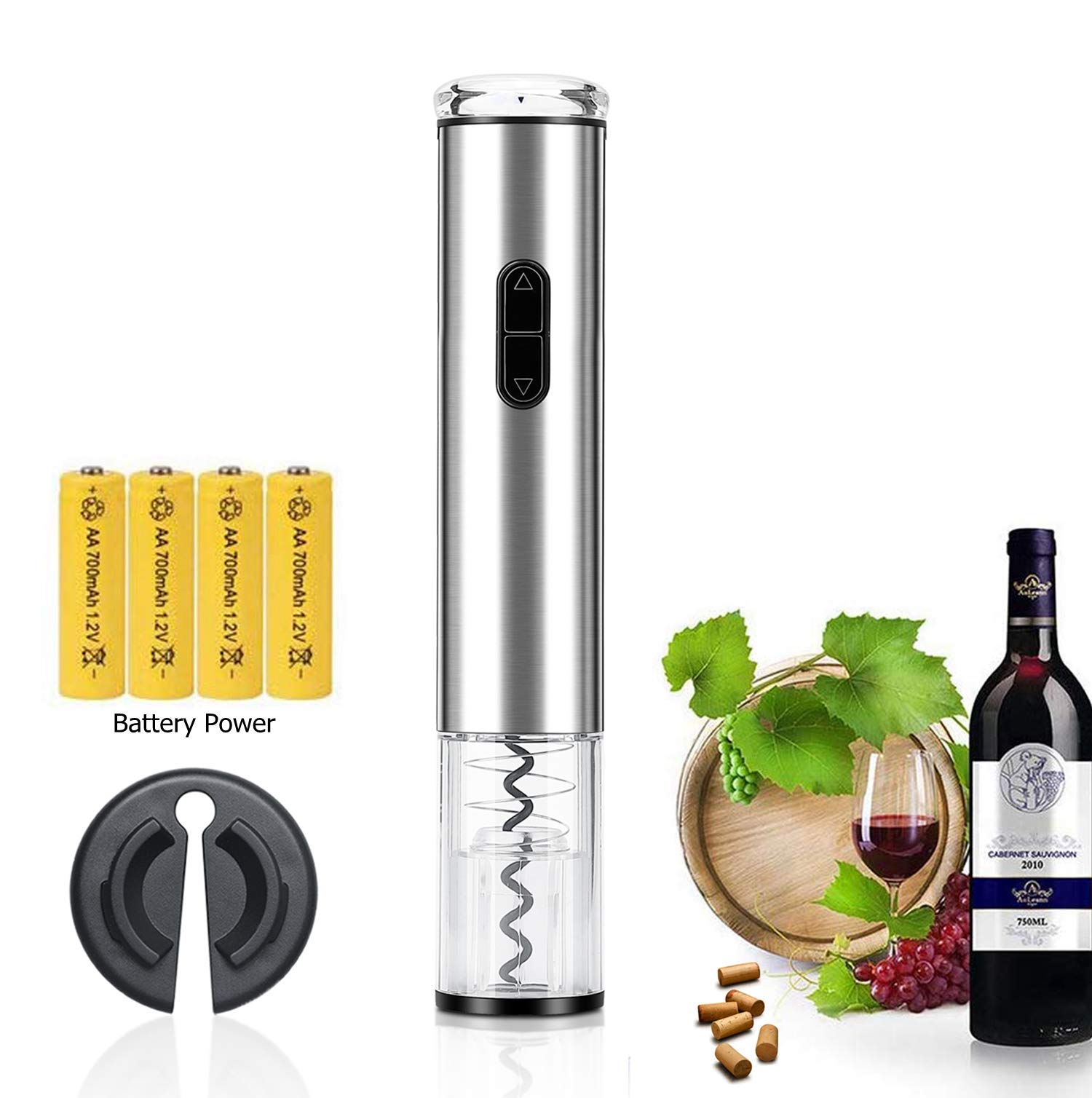 Electric Wine Opener, Automatic Wine Opener Corkscrew Battery Operated Bottle Openers with Foil Cutter Stainless Steel by Gorgeous Tec
