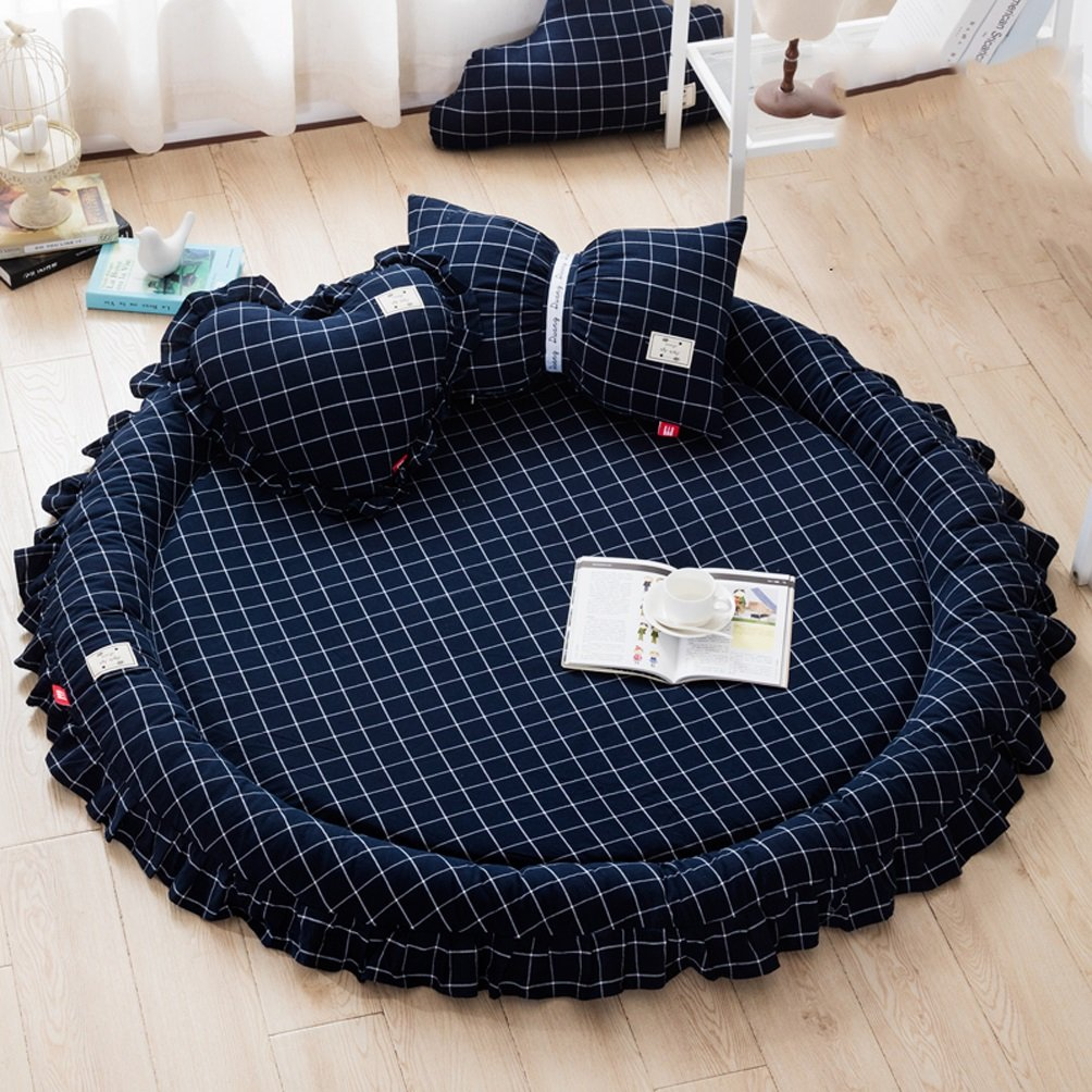 WAN SAN QIAN- Nordic Fresh Round Cotton Princess Bedroom Mats Children Climbing Pad Removable Machine Mats 145x145cm Rug ( Color : B )