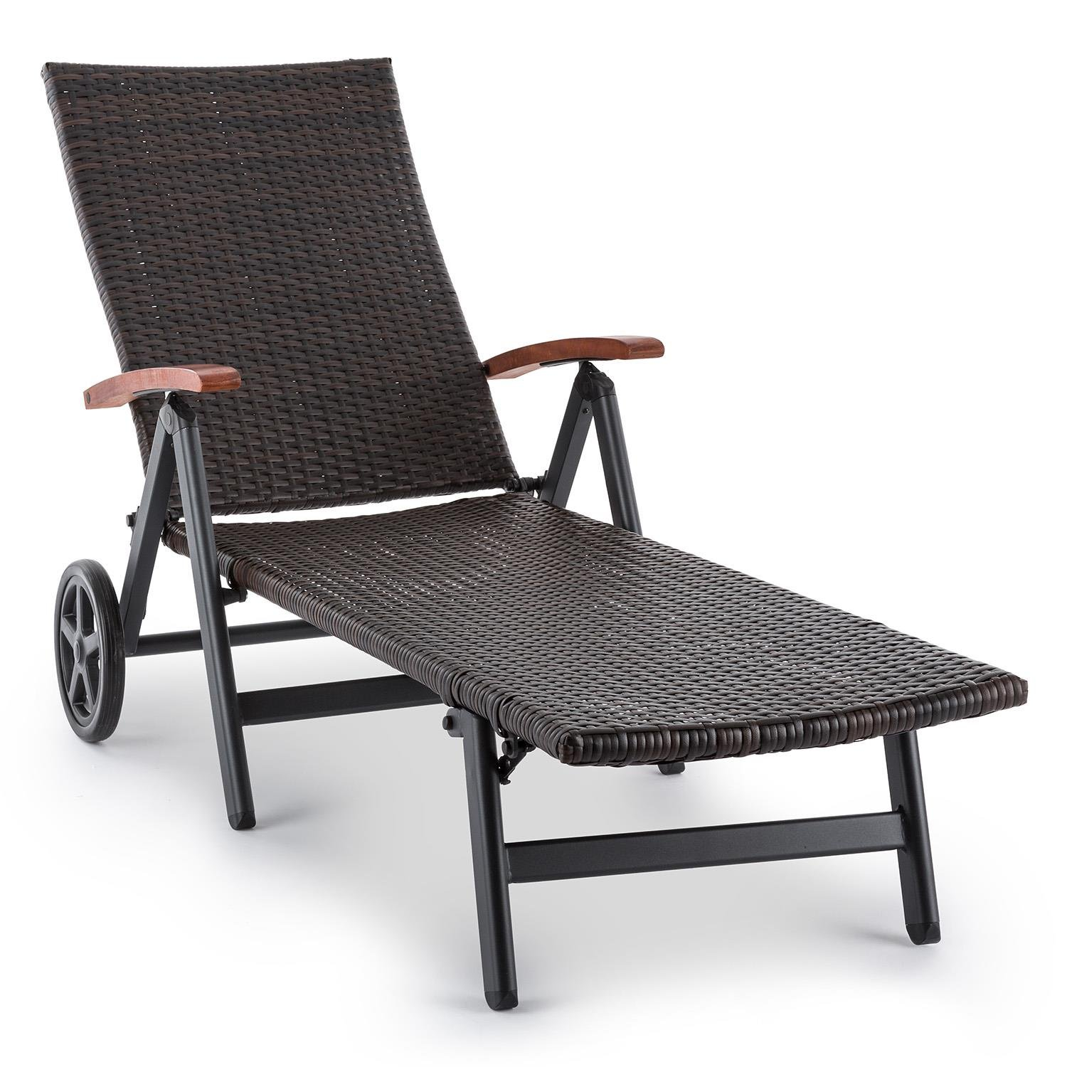 Blumfeldt Korsika Folding Chair with Armrests (58.5x103x75 cm, 4-Stage Adjustable Backrest, Woven Wicker Look) Polyrattan Aluminum,