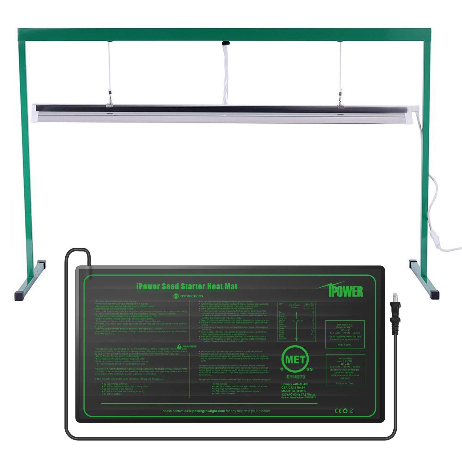 iPower GLSTNDT54FHTMTS 54W 4 Feet T5 Fluorescent Grow Light Stand Rack (6400K) and 10'' x 20.5'' Hydroponic Seedling Heat Mat Combo Set for Seed Germination, Green