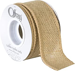 """product image for Offray 1.5"""" Wide Wired Edge Burlap Ribbon, 3 Yards, Natural Brown"""
