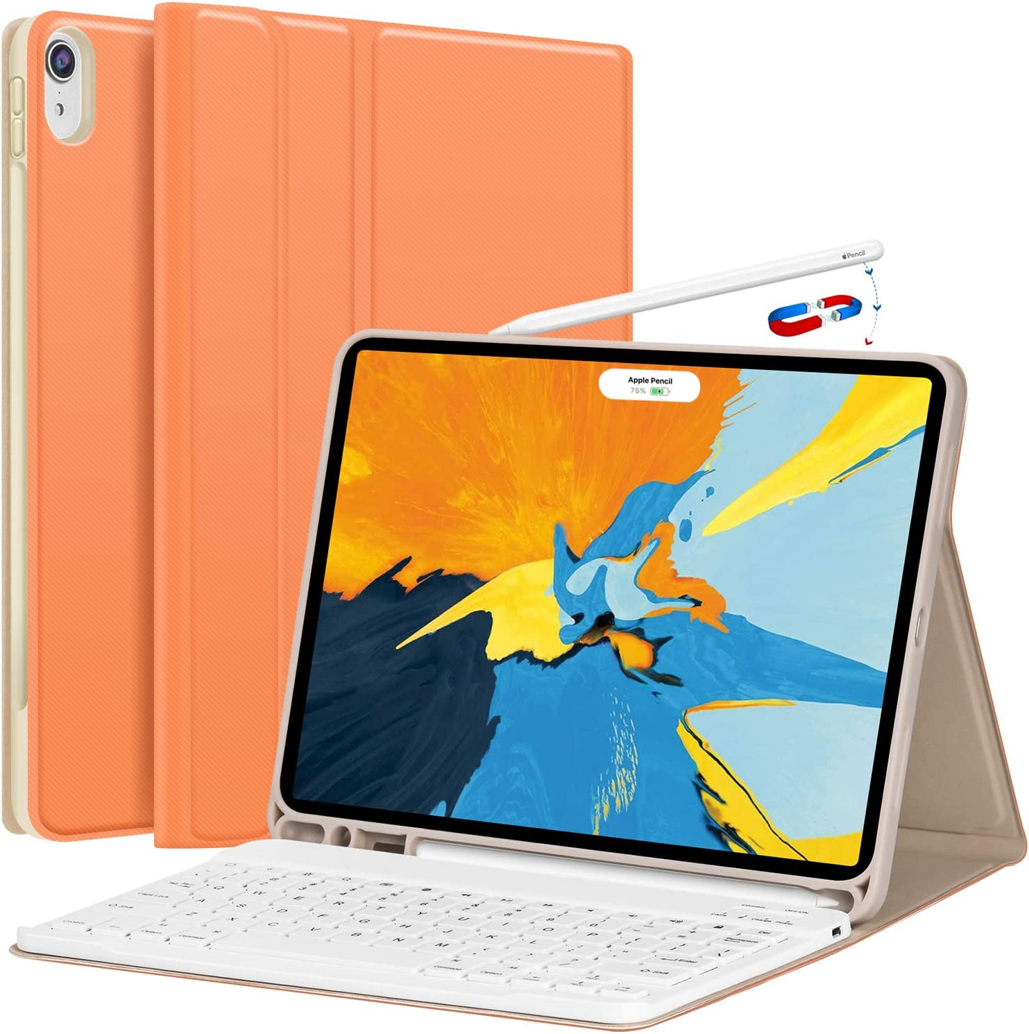 iPad Pro 11 Case with Keyboard 2018 - Detachable Wireless Keyboard [Support Apple Pencil Charging] - PU Leather Folio Stand Cover with Pencil Holder for iPad Pro 11 Inch 2018, Papaya