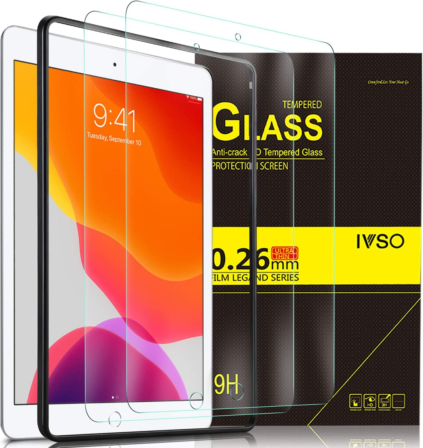 IVSO [2 Pack] Screen Protector for iPad 10.2 2019 (7th Gen) [Installation Frame] [Easy Installation] HD Clear Premium Tempered-Glass Screen Protector