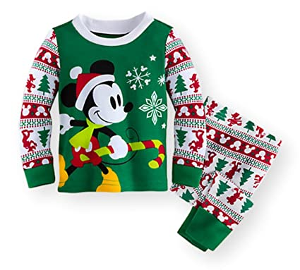 d97a5c8239 Mickey Mouse Disney Store Baby Boys Cotton Holiday Christmas Pajama Set  (6-9 Months