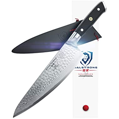 DALSTRONG Chef's Knife - Shogun Series X Gyuto - Damascus - Japanese AUS-10V - Vacuum Treated - Hammered Finish - 8  - w/Guard