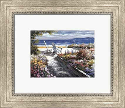 Amazon.com: Great Art Now Path with Beach Chairs by T.C. Chiu Framed ...