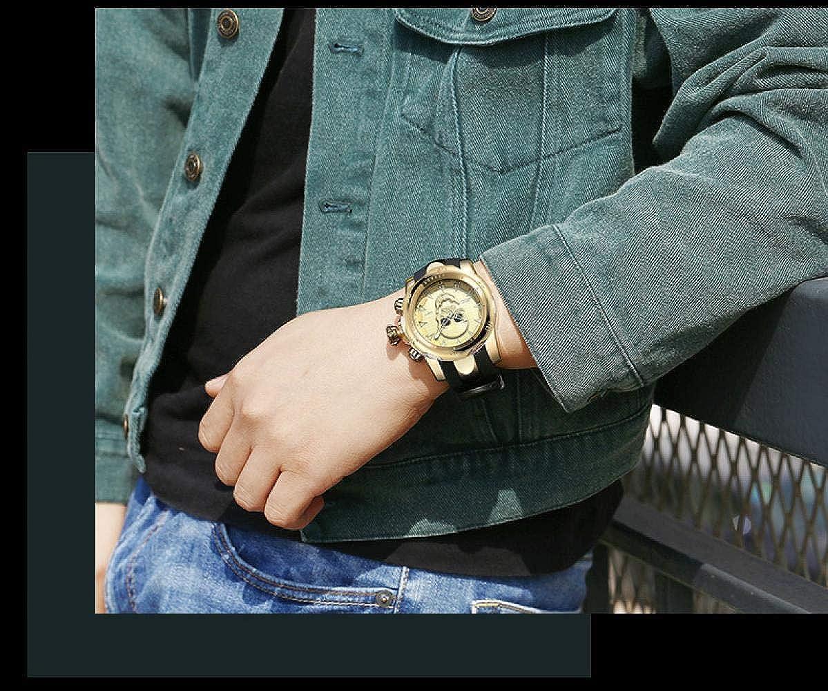 Montres Bracelet,Montre À Quartz À Gros Cadran De Crâne Montre pour Homme De Personnalité De Bande De Silicone Gold