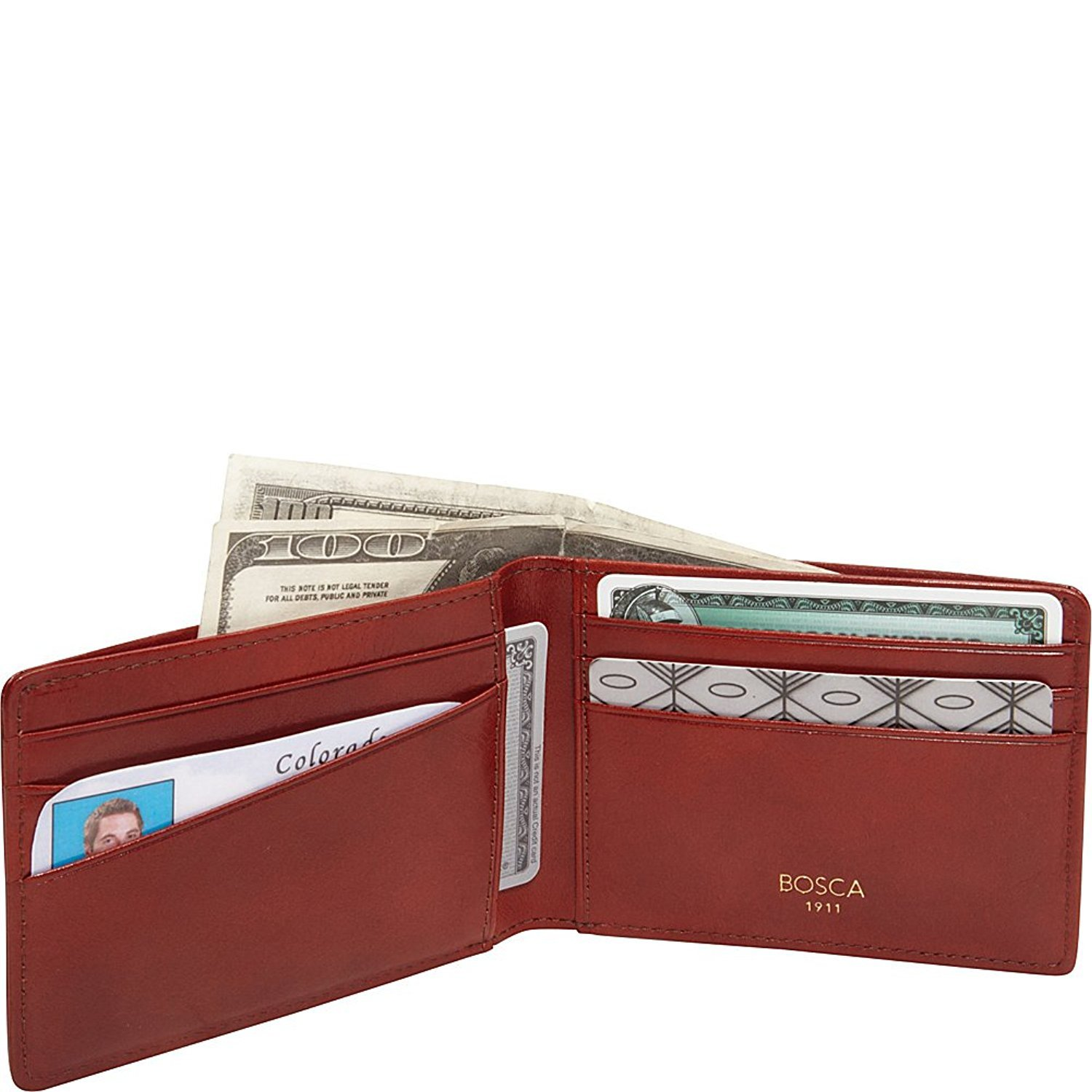 Old Leather Small Bifold Wallet Color: Cognac by Bosca