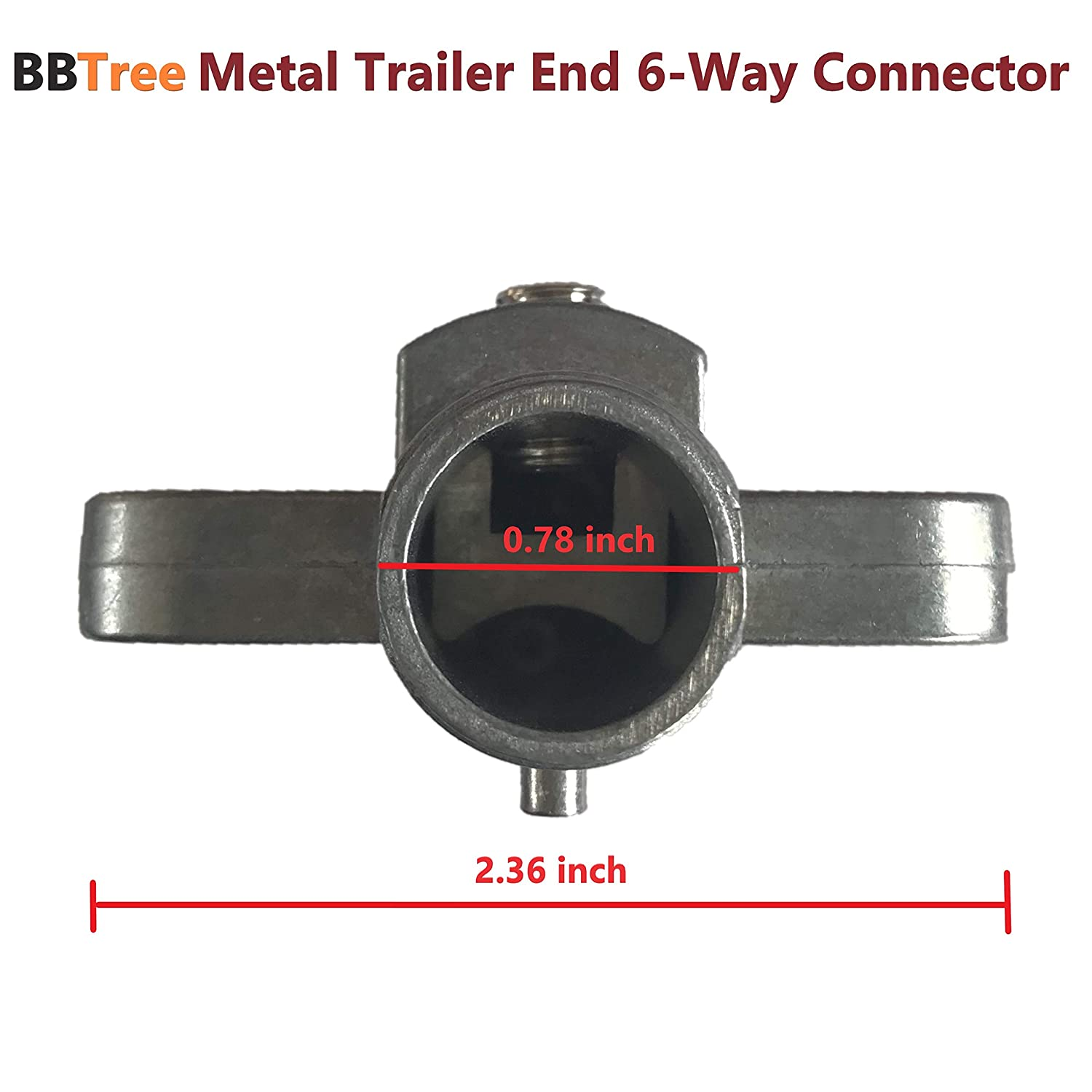 BBTree 6-Way Trailer Adapter,Metal Trailer End 6-Way Flat Pin Connector T/&M
