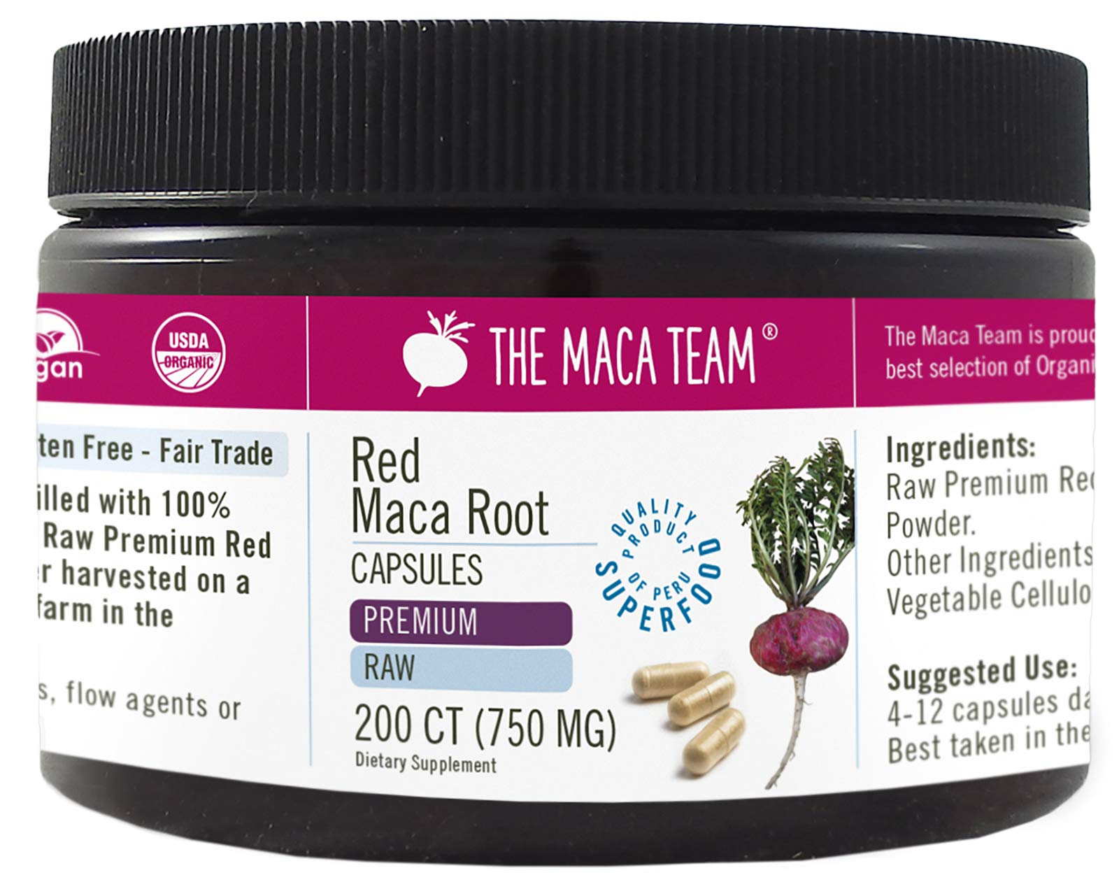 The Maca Team Premium Raw Red Maca Root Capsules, Certified Organic, Vegan, GMO- and Gluten-Free, 750 mg Size, 200 Count