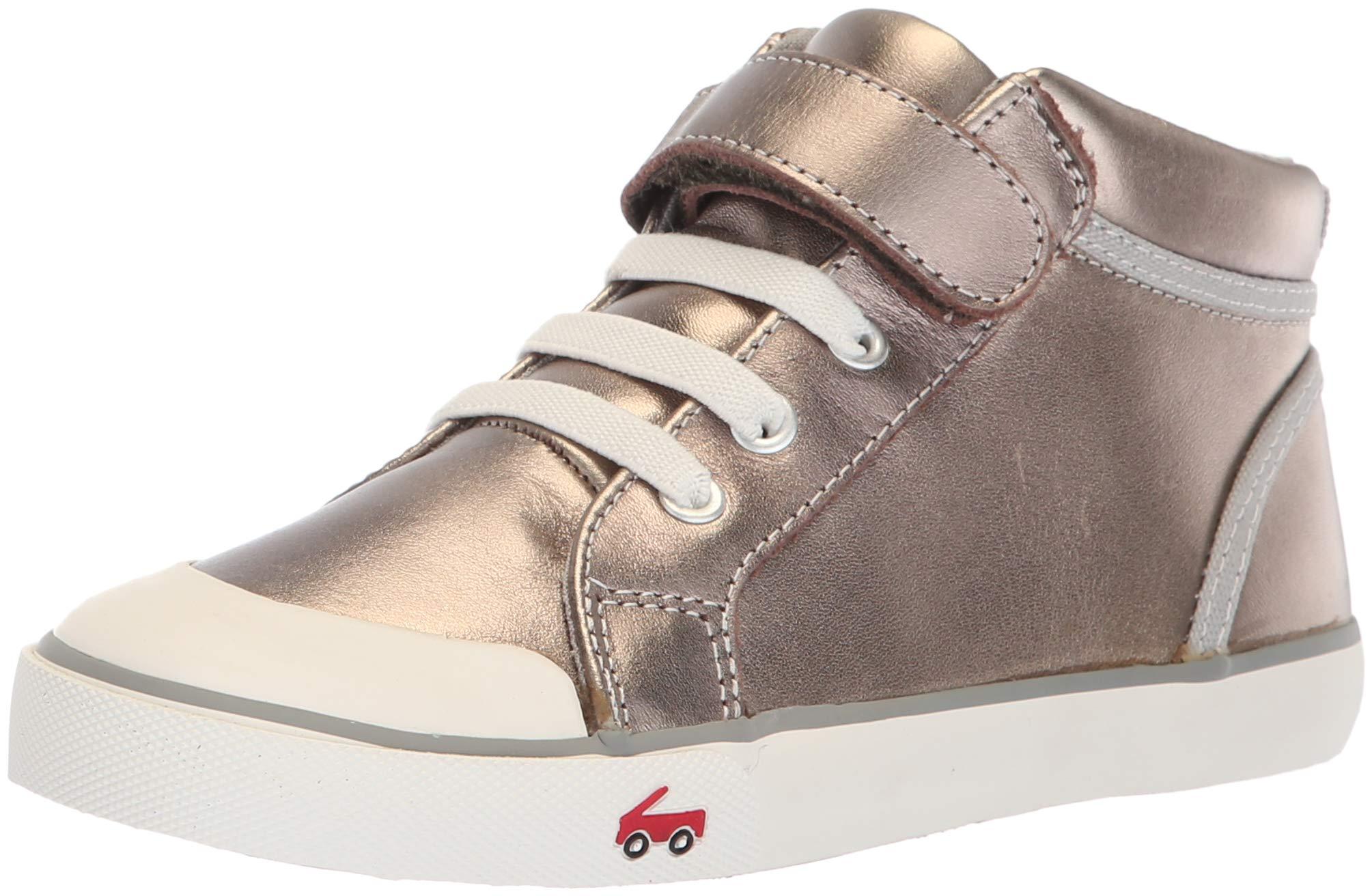 See Kai Run Girls' Peyton Sneaker, Pewter Leather, 7 M US Toddler