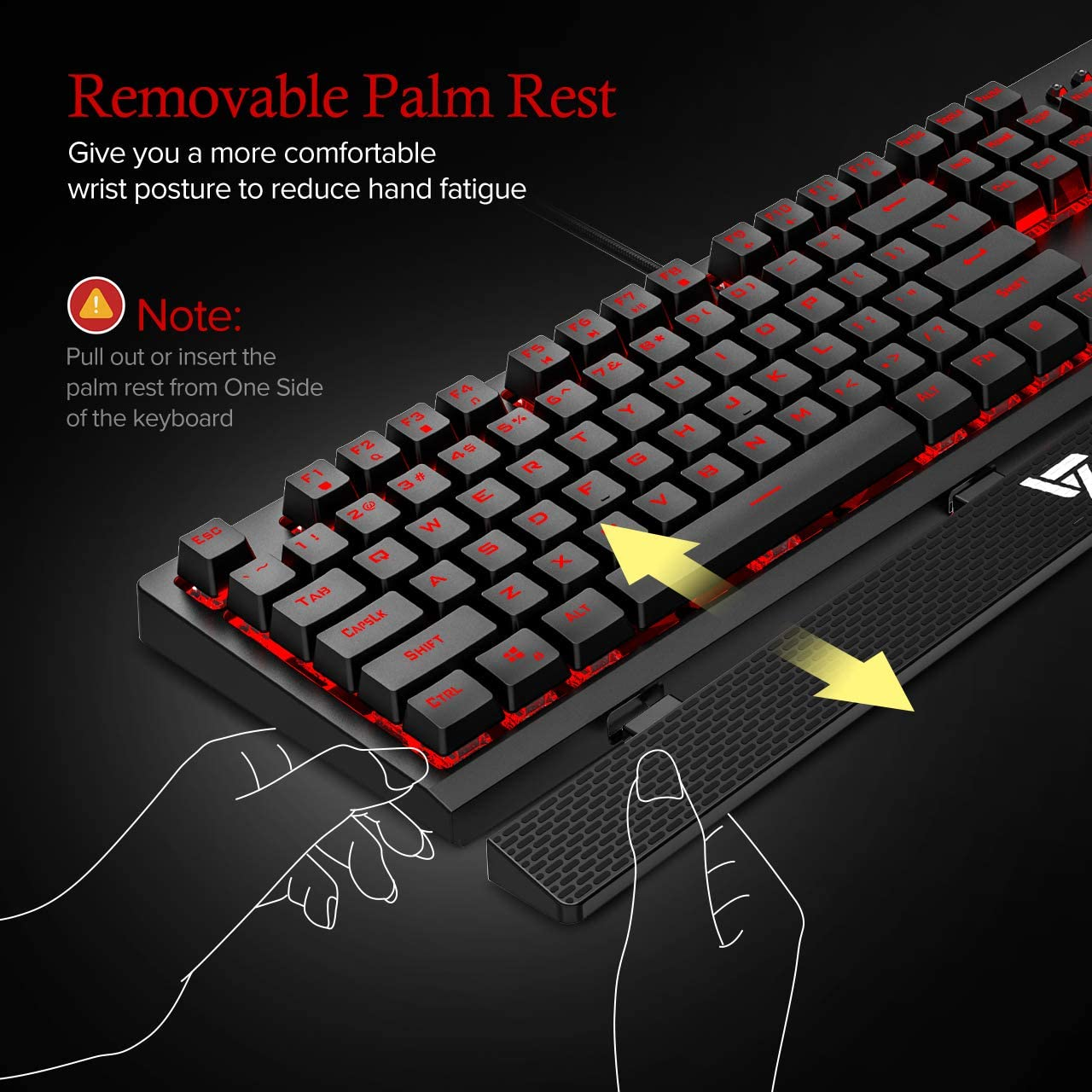 100/% Anti-ghosting Red LED Backlit Mechanical Keyboard with Red Switch Quiet Computer Keyboard with Detachable Ergonomic Wrist for Mac VicTsing Gaming Keyboard Wired PC Gamer Waterproof