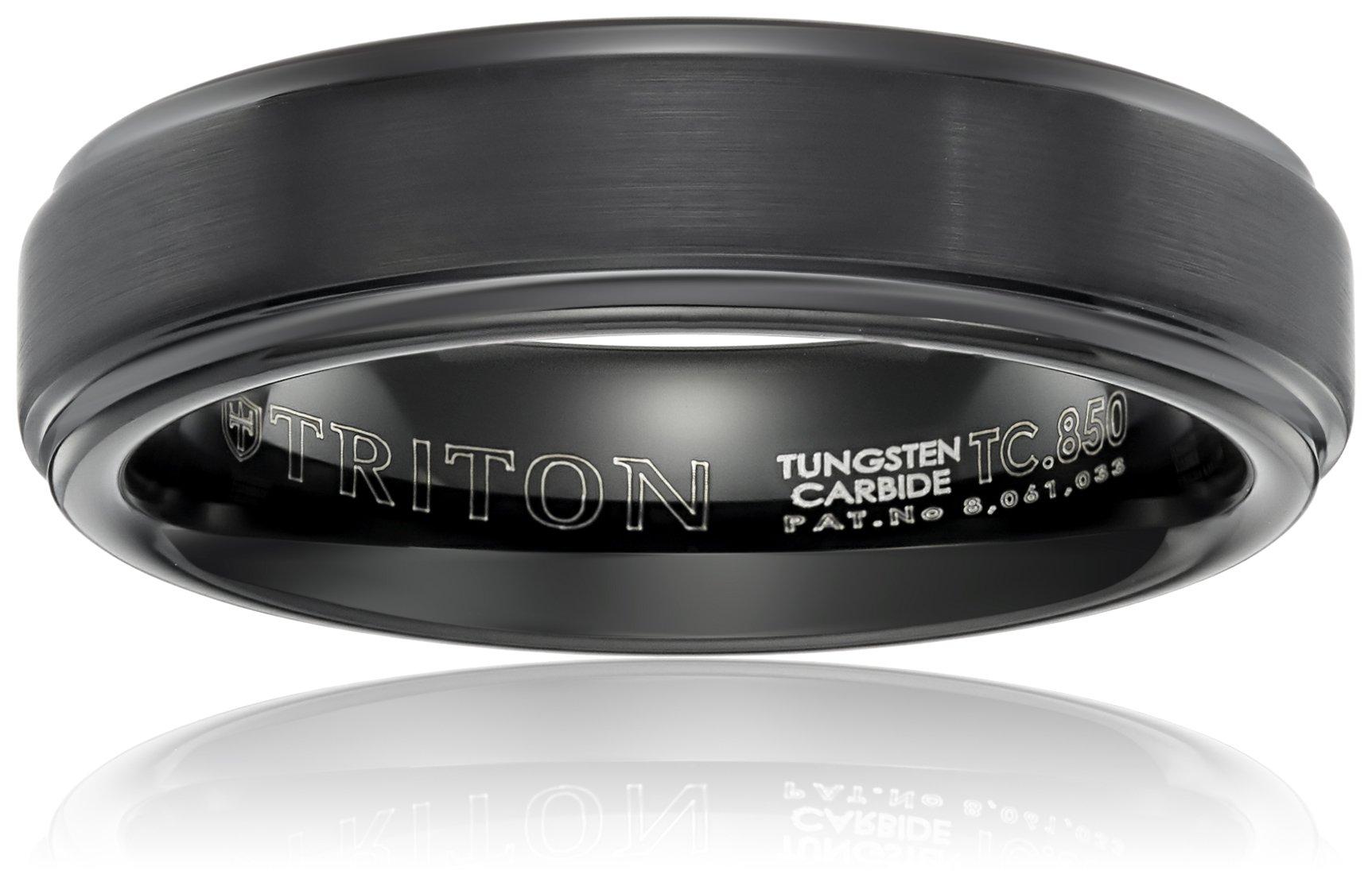 Triton Men's Black Tungsten 6mm Step Edge Comfort Fit Band, Size 10