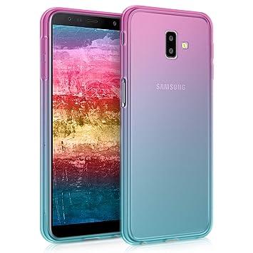 kwmobile Funda para Samsung Galaxy J6+ / J6 Plus DUOS - Carcasa para móvil de TPU con diseño Bicolor - Rosa Fucsia/Azul/Transparente
