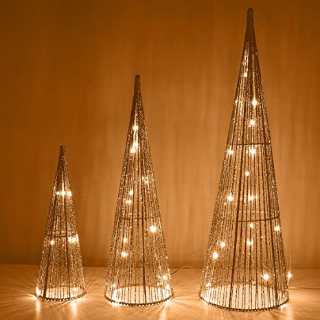 Amazon Com Lewondr Christmas Cone Tree Led Light 3 Pieces Battery Powered Exquisite Decorative Light Indoor Outdoor Festival Decorations Xmas Tradition Tree Ornament Home Décor 24 18 12 Champagne Gold Home Kitchen