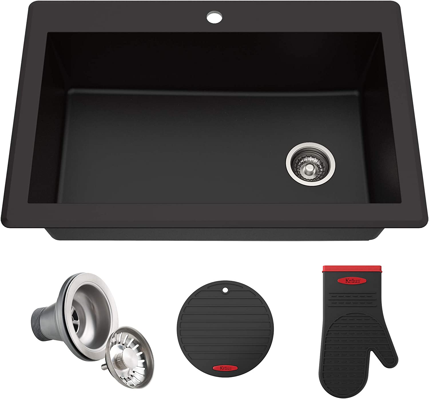 best granite sink: Kraus KGD-54BLACK Forteza Granite Kitchen Sink