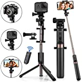 Selfie Stick Bluetooth, KUSKY 2-in-1 Extendable Selfie Stick Tripod with Wireless Remote Shutter for iPhone X/8/8P/7/7P/6s/6P, Galaxy S9/S9 Plus/S8/S7/ S6/S5/Note 8, Google, Huawei and More