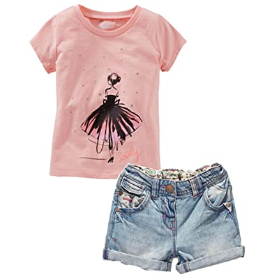 2 Piece Baby Girls' Summer Cotton T-shirt Top+Denim Short Pants Sets
