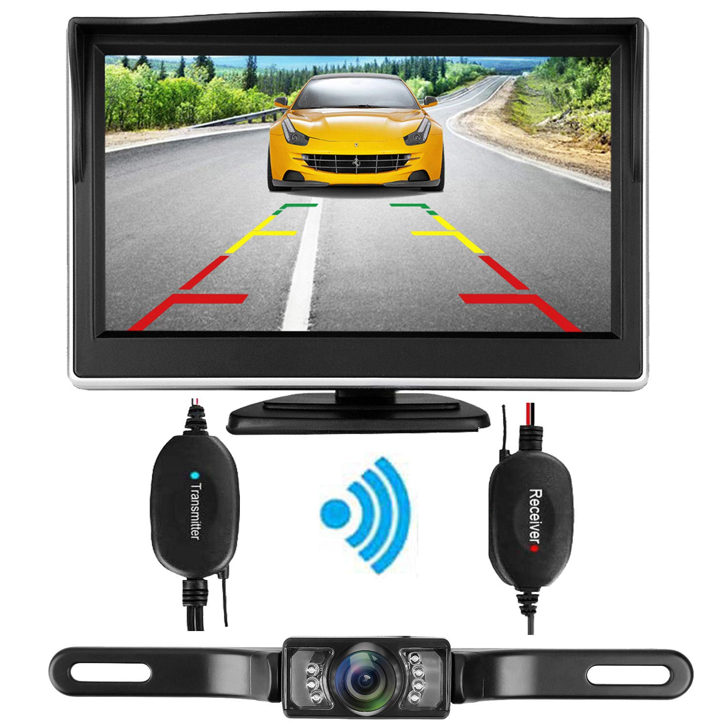 iStrong Backup Camera Wireless 4.3'' Monitor Kit for Car/SUV/Van Waterproof License Plate Rear View /Front View Camera 7 LED IR Night Vision Guide Lines ON/OFF