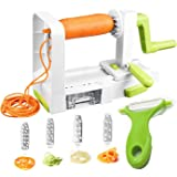 Hachef 5 Blades Folding Professional Vegetable Spiralizer with Strong Hold Suction with Green Peeler and Cleaning Brush set- Best Vegetable Spiral Slicer Zucchini Spaghetti and Pasta Maker