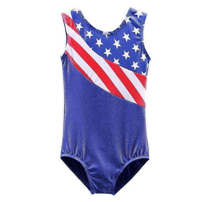 e1c7bd88e884 Girls Leotards for Gymnastics Blue American Flag Sparkle Spliced Athletic  Dancewear B149_US_4A