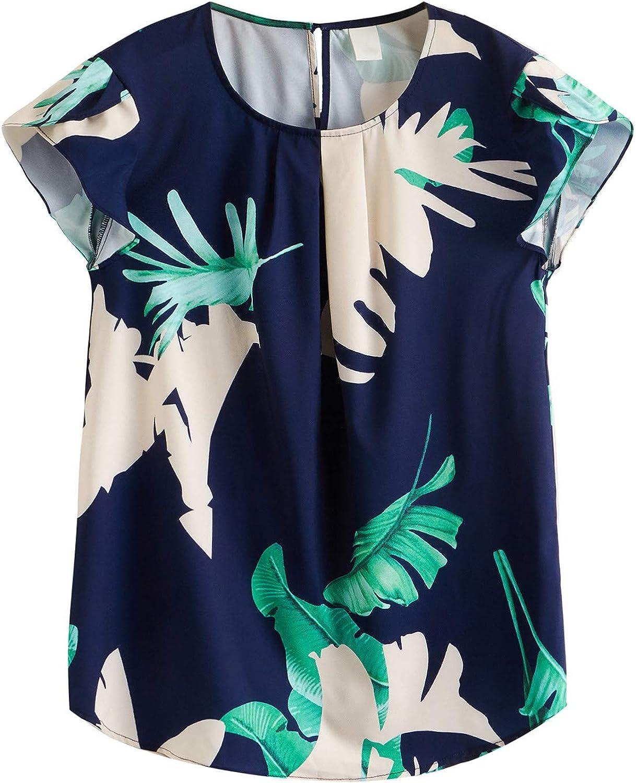 Milumia Women's Tropical Print Top Cap Sleeve Keyhole Back Office Blouse Shirts