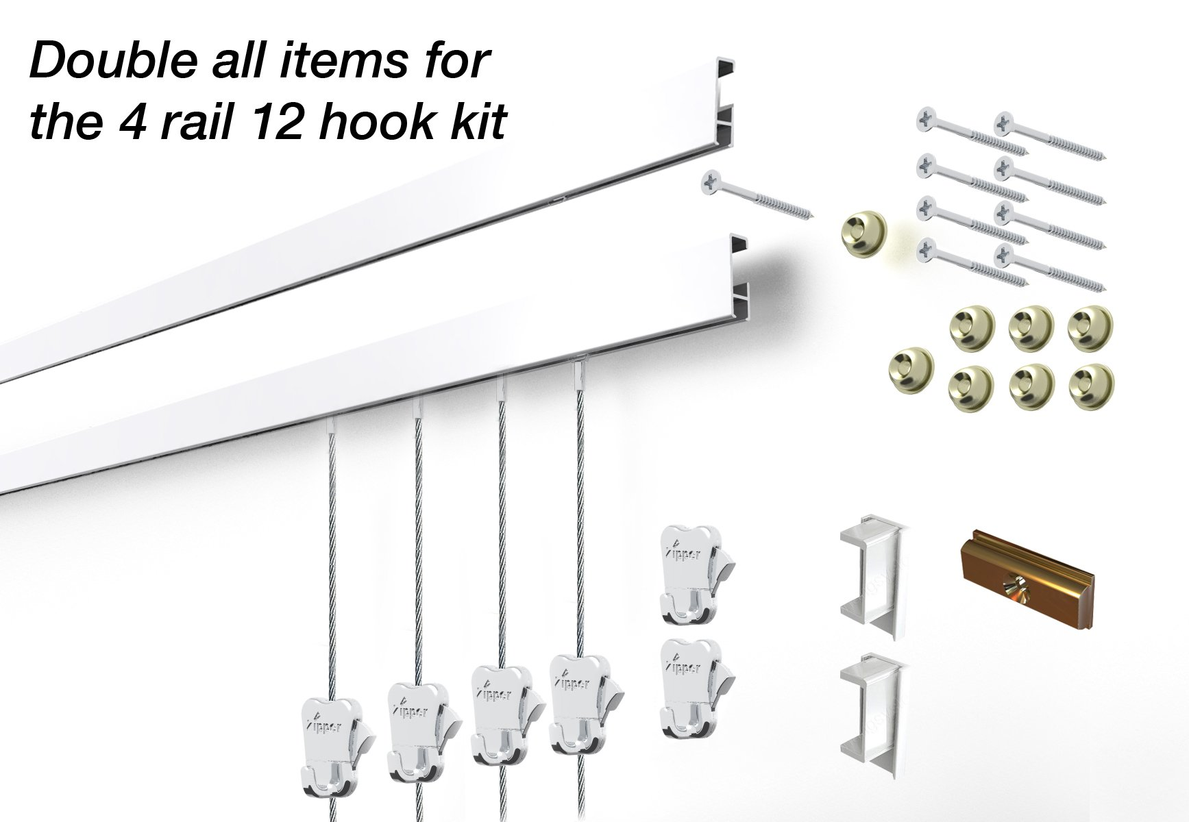 STAS Cliprail Complete Art Hanging Gallery System (4 rails 12 hooks and 8 cables, white rails) by Stas Picture Hanging Systems