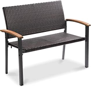 Aoxun Outdoor Garden Bench Wicker Bench for Patio Metal Frame Outdoor Seating Furniture for Park Porch,Brown Black Rattan