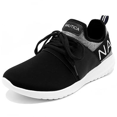 154bcfbc674834 Nautica Women Fashion Sneaker Lace-Up Jogger Running Shoe-Kappil-Black  Heathered-