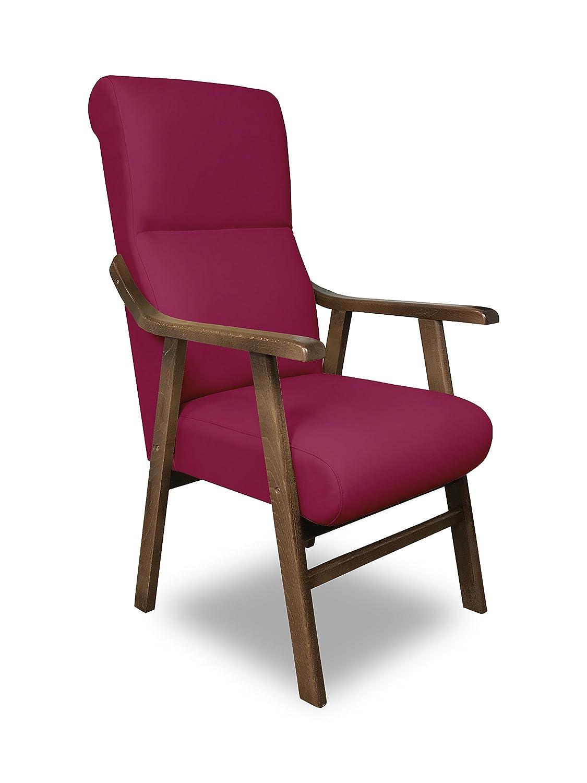 SERMAHOME Sillon butaca Boston, Estructura de Madera de Haya Color Nogal. Tapizado en Polipiel Color Fucsia. Sillon para Comedor | Silla geriatrica | ...