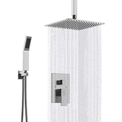SR Sun Rise Brushed Nickel Shower Faucet Ceiling Mount Bathroom 12 Inch Rain  Mixer Shower Combo