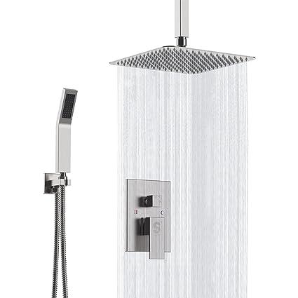 Sr Sun Rise Brushed Nickel Shower Faucet Ceiling Mount Bathroom 12