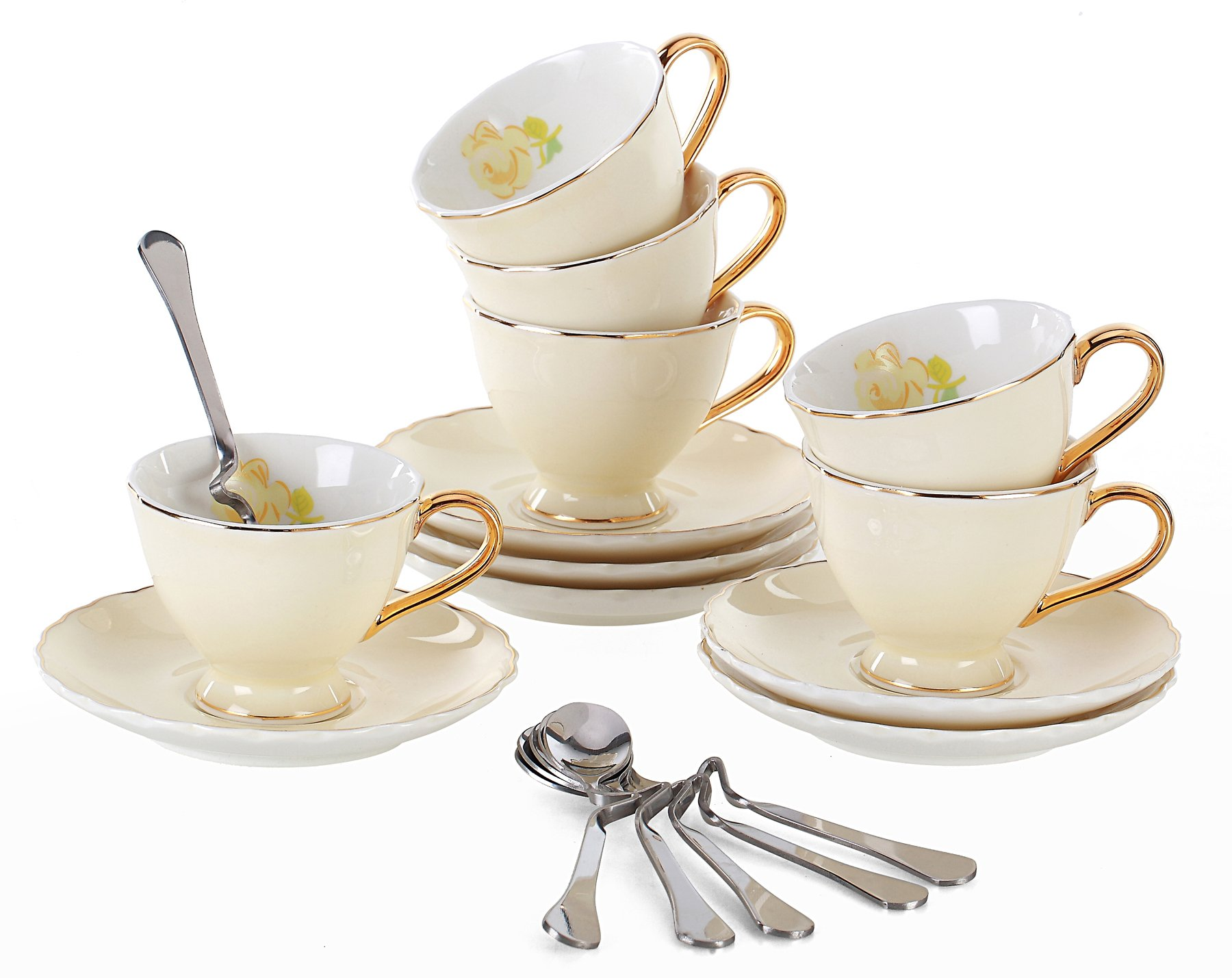 Jusalpha Fine China Tea Cup and Saucer Coffee Cup Set with Saucer and Spoon FD-TCS02 (7 OZ, Set of 6, Yellow)
