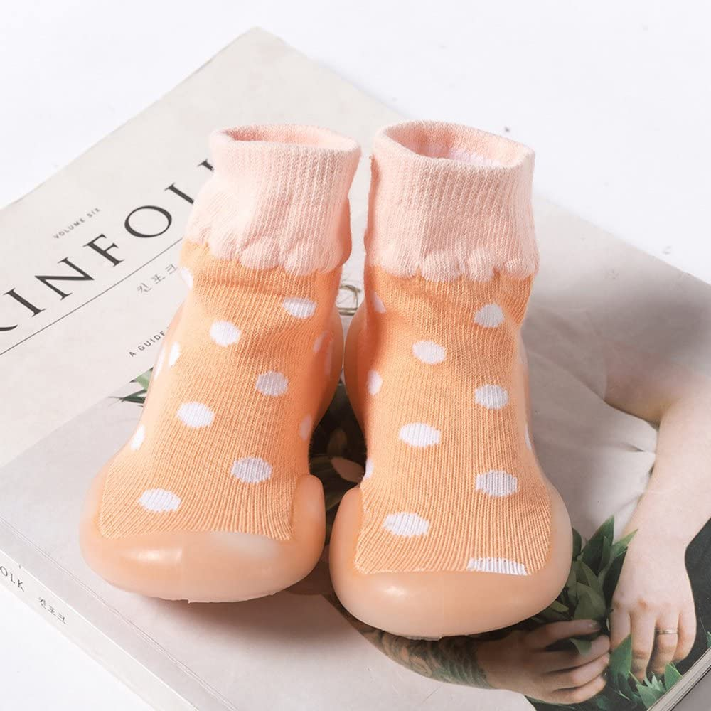 Pink KINDOYO Kids Cute Warm Cotton Toddler Anti-slip Socks Winter Baby Girls Boys Solid Color Wave Point Shoes Boots Slipper