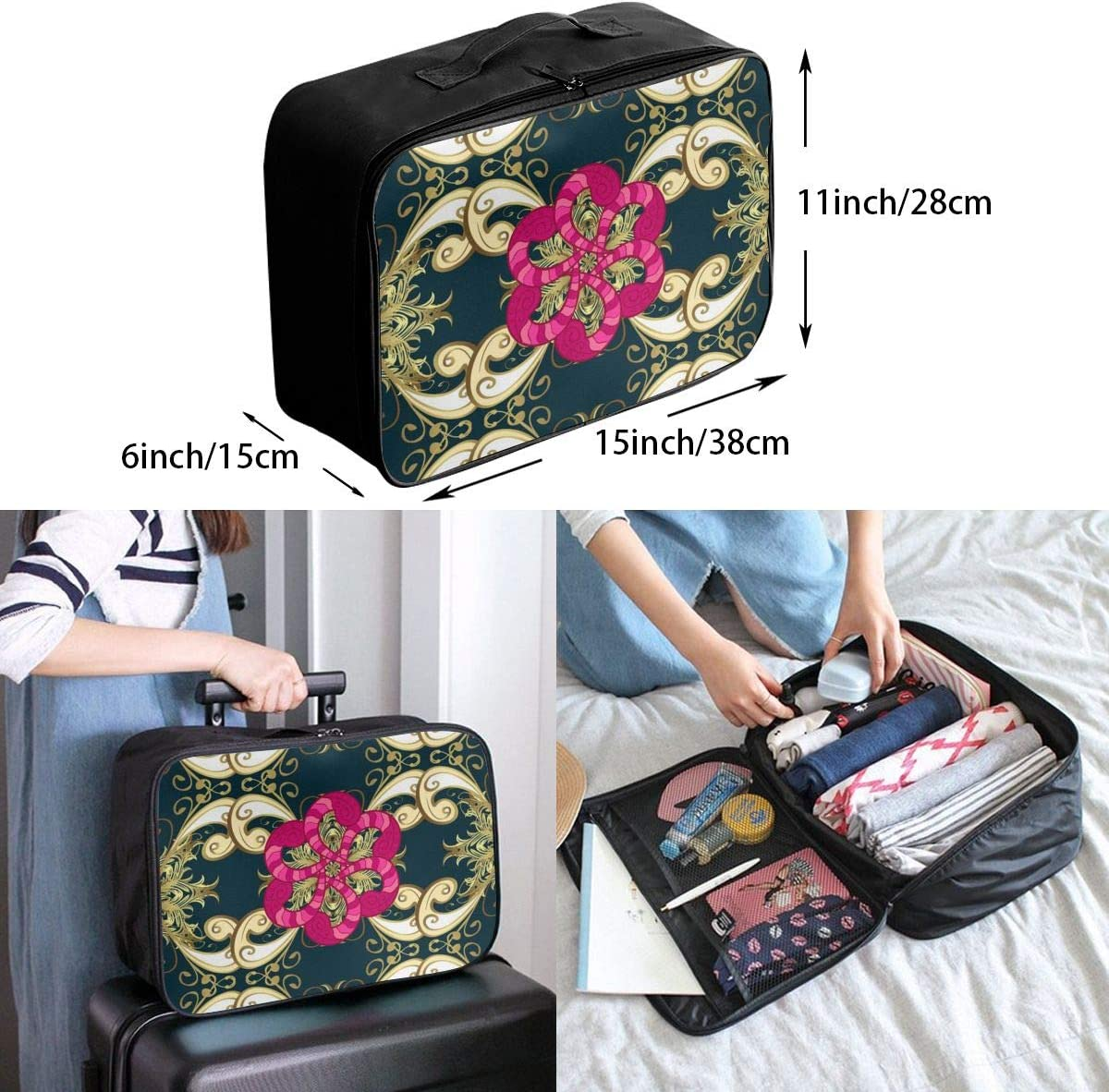Yunshm Dark Blue Floral Golden And Pink Doodle Elements Personalized Trolley Handbag Waterproof Unisex Large Capacity For Business Travel Storage