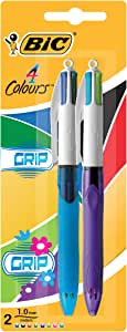 BIC 4 Colours Grip Original Ball Pen and Grip Fashion Medium Ball Pen (1.0 mm) - Assorted Colours, Pack of 2 Pens