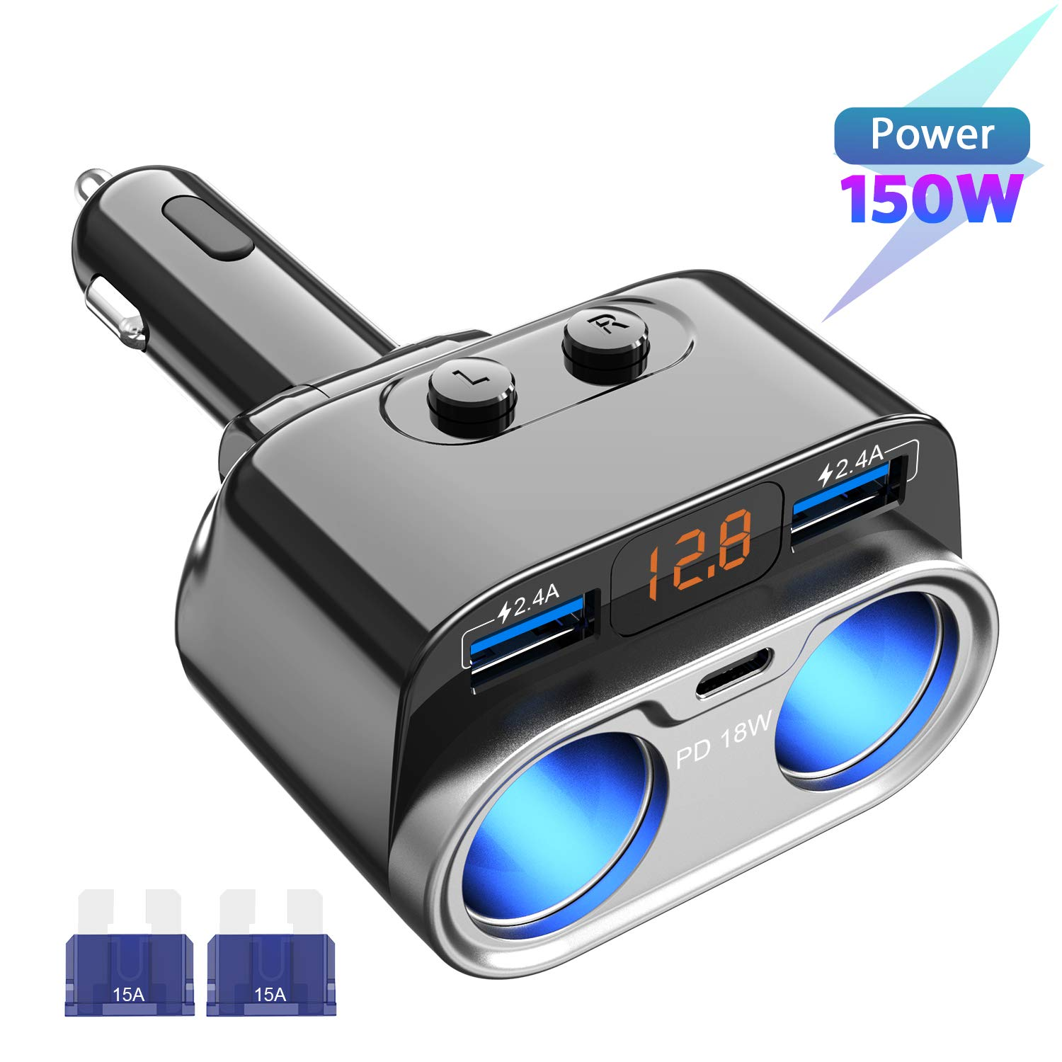 USB C Car Charger, Uniwood 2 Sockets Cigarette Lighter Splitter, 12/24V 80W Dual USB Type-C Ports Separate Switch LED Voltage for Mobile Cell Phone ...