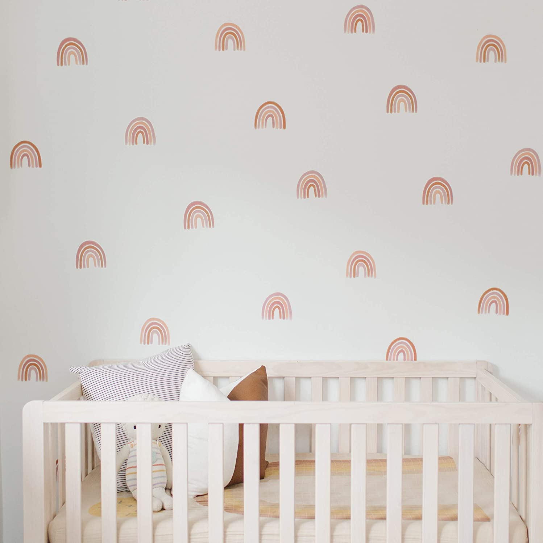 "Modern Maxwell Wall Art Decals for Girls Nursery, Bedroom, Living Room ""Rainbow Boho"" Dot Room Sticker 32 Pieces"