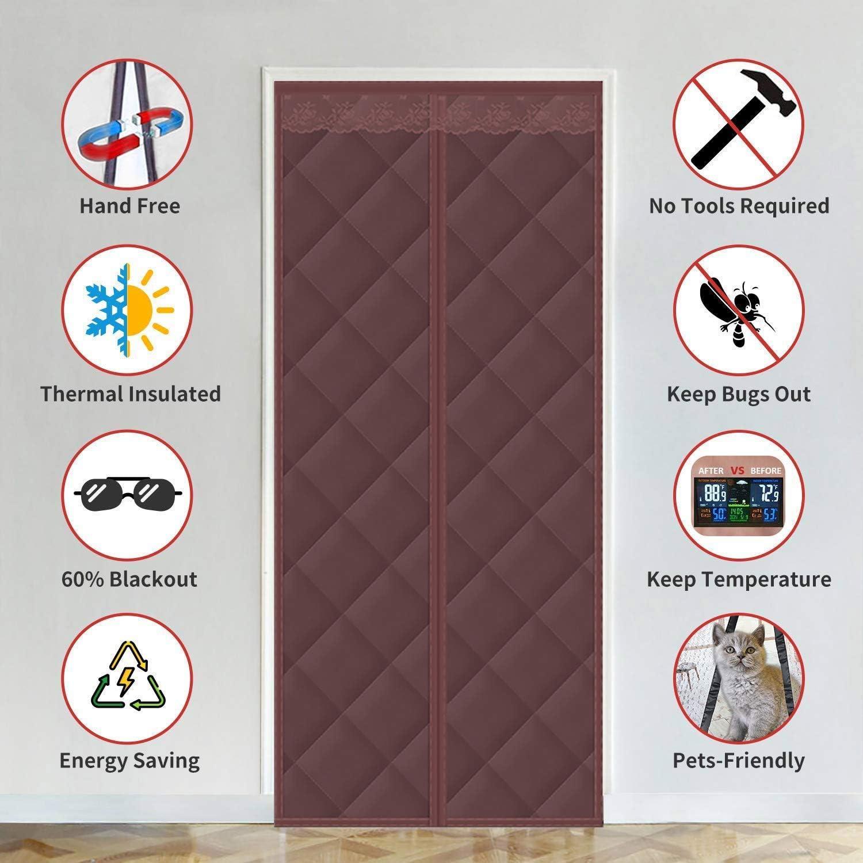 Brown 70x180cm 27x70inch AMENZ Magnet Fliegengitter T/ür Balkont/ür Magnetverschluss Thermovorhang Haustur Einfache Montage mit Klettband Verschiedene Gr/ö/ßen