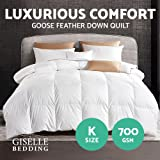 Giselle Bedding 700GSM Goose Down Quilt Cotton Cover Double-Stitched Soft Lightweight Duvet Doona Blanket for Winter - King Size White