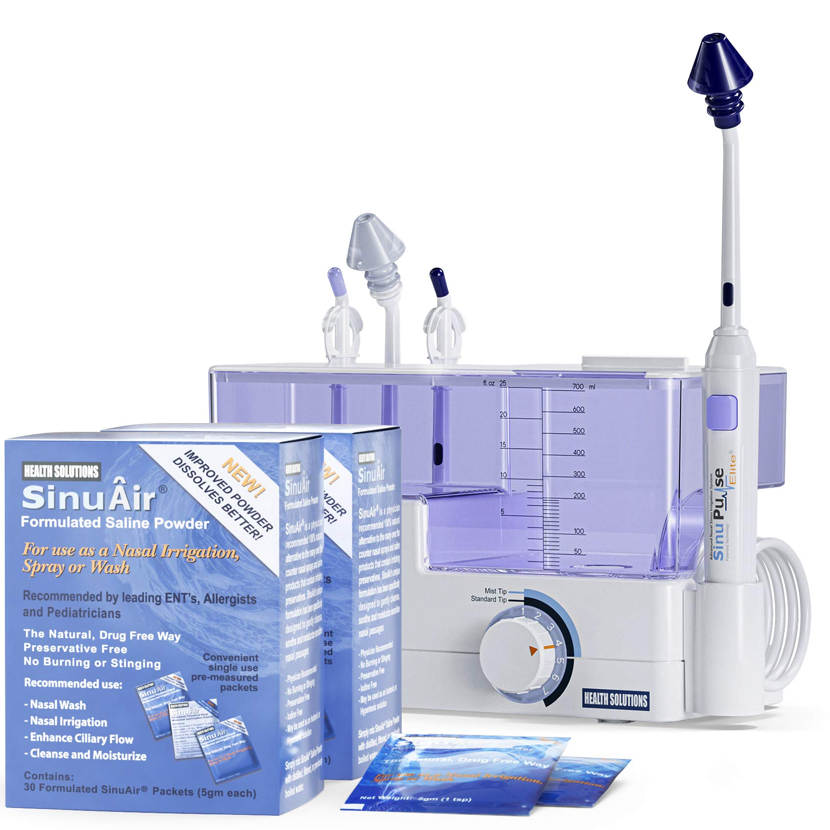 SinuPulse Elite Advanced Nasal Irrigation System with 60 Additional SinuAir Packets