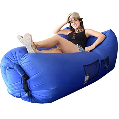 Easy Go Products Woohoo 3.0 Giant Outdoor Inflatable Lounger with Carry Bag - Patent Pending, Blue : Sports & Outdoors