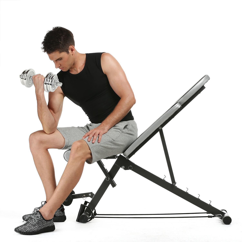 Oguine用多機能腹部更かし調節可能重量ベンチベンチと抵抗バンドジムオフィスホーム B07D5DQRKT