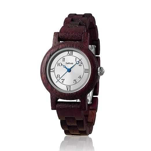 Reloj de madera ZEITHOLZ – Schönheide - 100% de Madera Púrpura - Producto Natural -