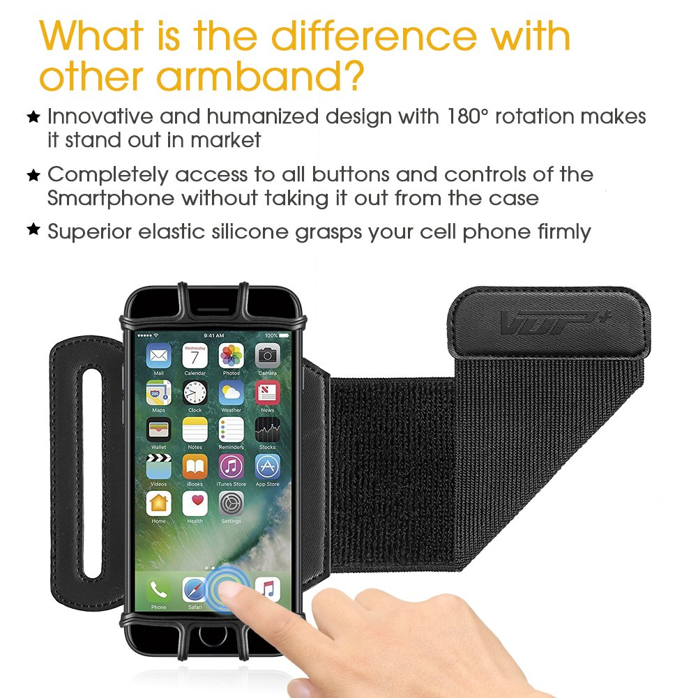 VUP Wristband Phone Holder for iPhone X iPhone 8 8Plus 7 7 Plus 6S 6 5S Samsung Galaxy S8 Plus S7 Edge, Google Pixel, 180° Rotatable, Great for Hiking Biking Walking Running Armband(Black) by VUP (Image #3)