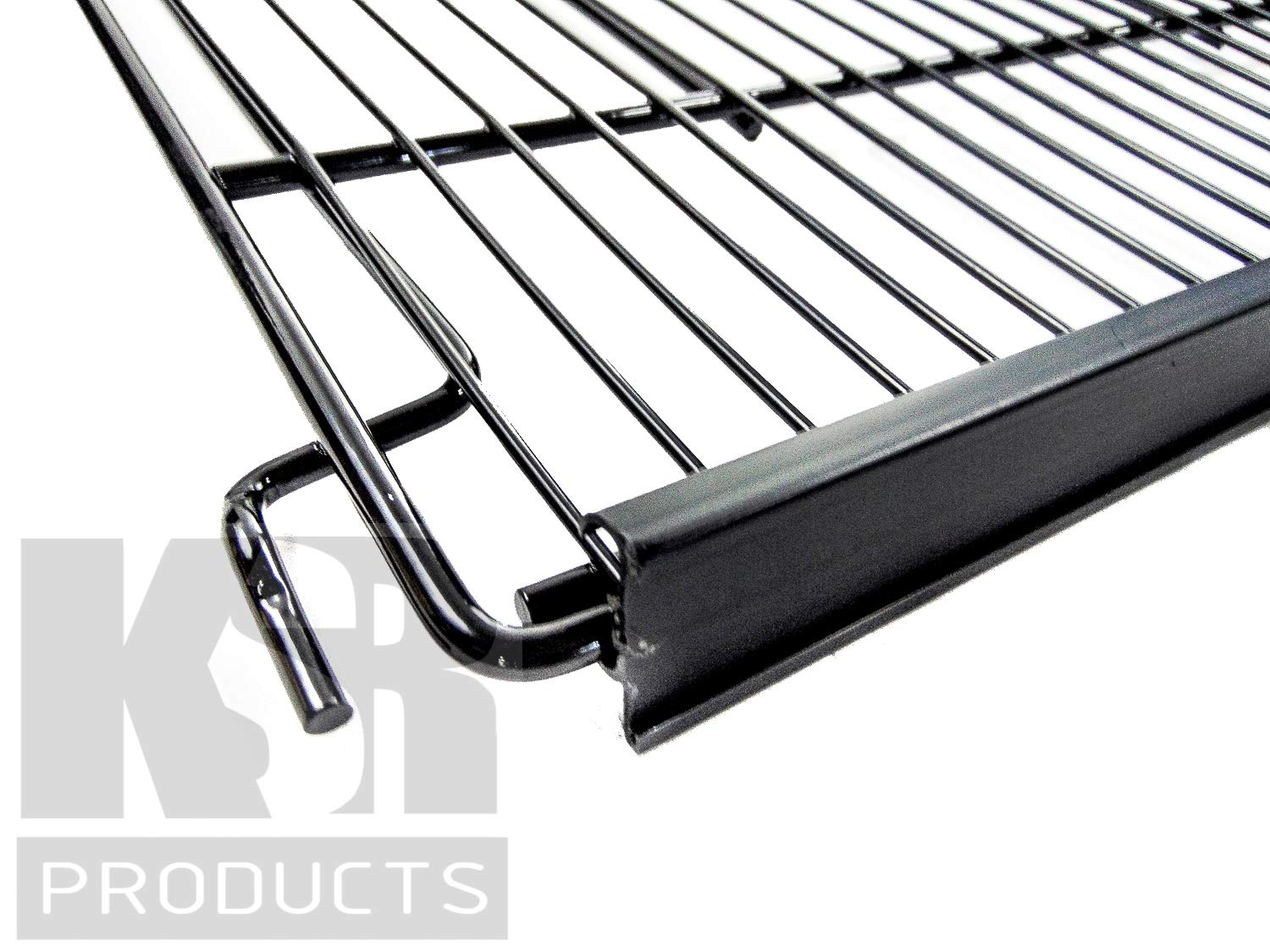 KSR 30″ x 27″ Commercial Refrigeration Wire Shelf for Behind Glass Door Shelving System, Includes Price Tag Molding; Multi Position, Powder Coated, and NSF Approved (Black)