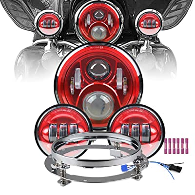 """Atubeix 7 inch Led Headlight 4-1/2"""" 4.5 inch Matching Passing Lamps assembly for Classic Electra Touring Road King Street Glide Heritage Softail with Fat boy with Mounting Ring (Red): Automotive"""