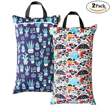 Paquete de 2 bolsas de pañales para bebé húmedas y secas, impermeables, reutilizables con