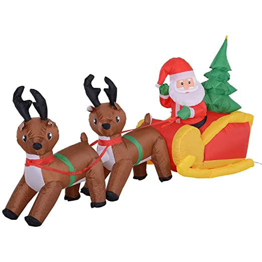 Homcom - Papá Noel hinchable con trineo y reno y árbol de Navidad ...